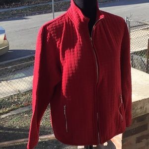 Karen Scott Red quilted jacket. L